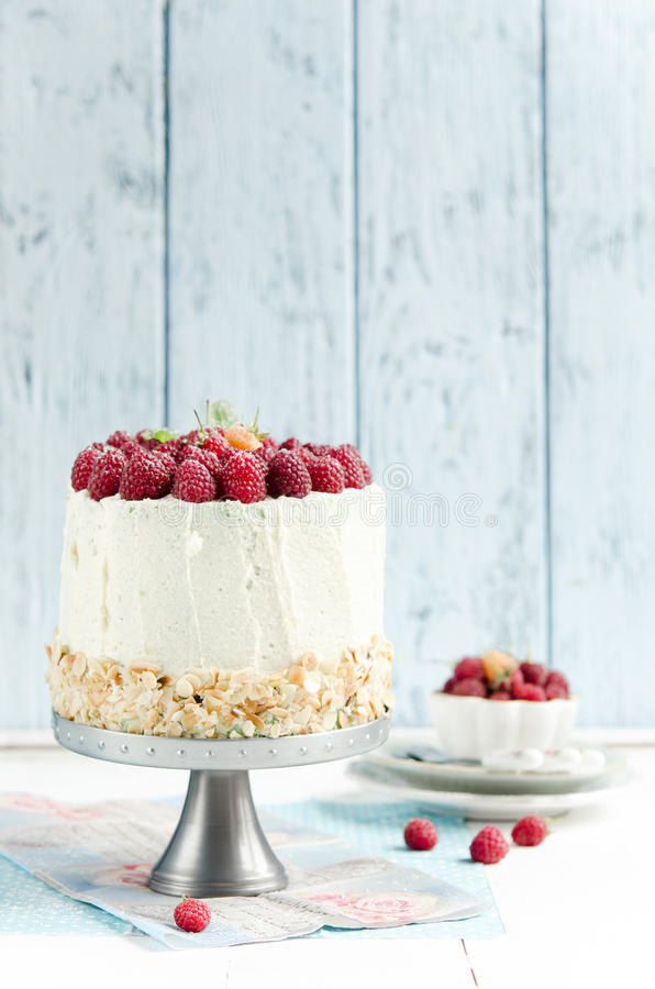 Sponge cake with raspberry stock photography