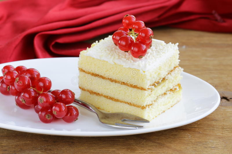 Sponge Cake With White Chocolate Decorated Currant Stock Photo Image Of Treat