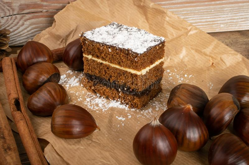 Sponge Chestnut Cake with Spices, Piernik, Brown Biscuit stock photo