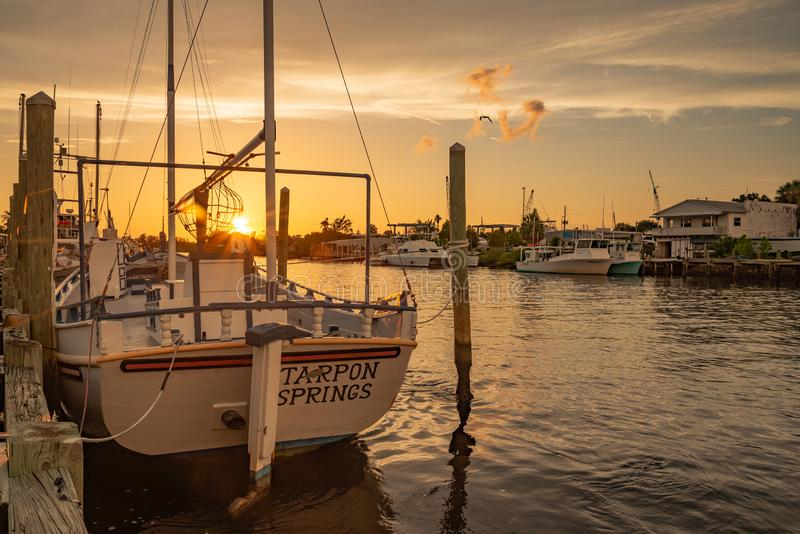 Sponge Fishing Boat at Sunset in Tarpon Springs royalty free stock photography