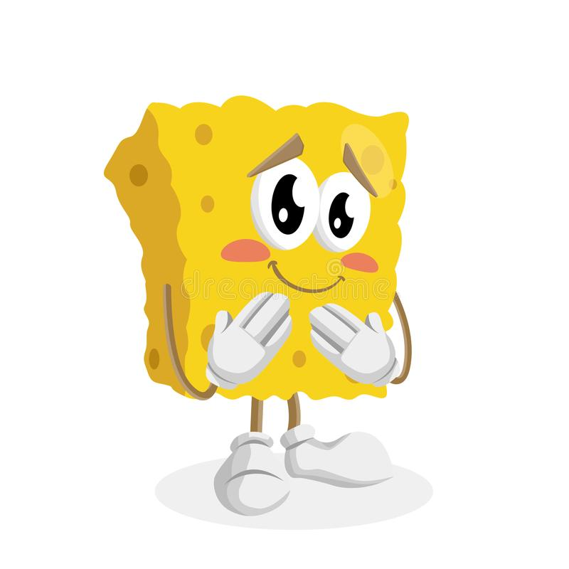 Sponge mascot and background ashamed pose. With flat design style for your mascot branding royalty free illustration