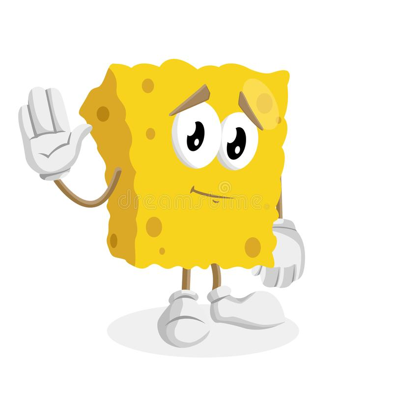 Sponge mascot and background goodbye pose. With flat design style for your mascot branding royalty free illustration