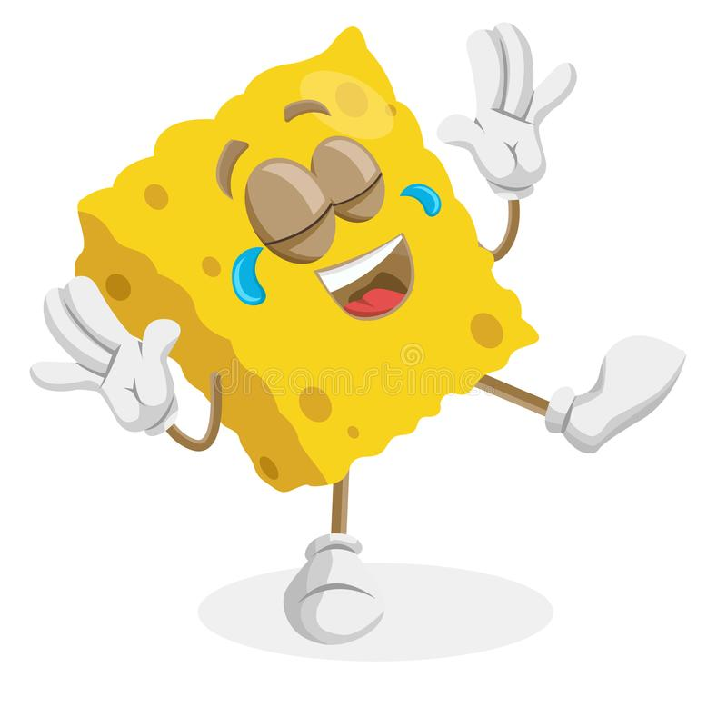 Sponge mascot and background happy pose. With flat design style for your mascot branding royalty free illustration