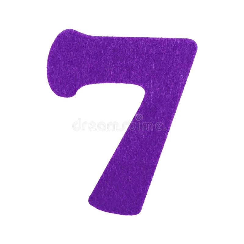 Sponge number seven of purple font isolated on white background royalty free stock photo