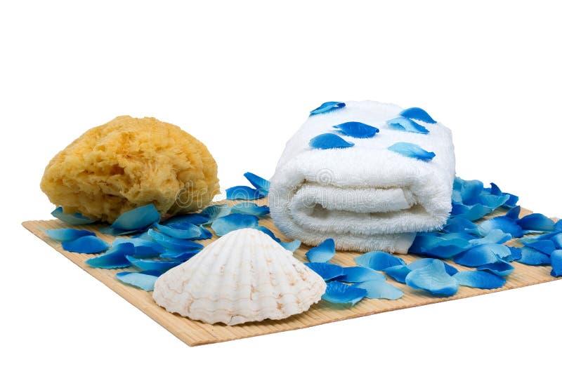 Sponge and towel - wellness set. Sponge and towel with seashell and petal - perfect wellness set royalty free stock images