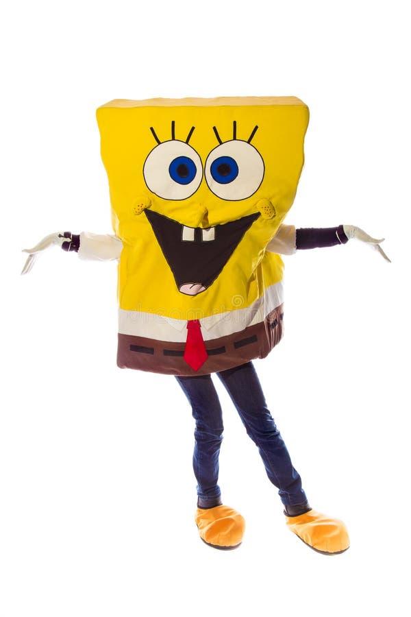 spongebob被打扮的字符在foto演播室 库存照片