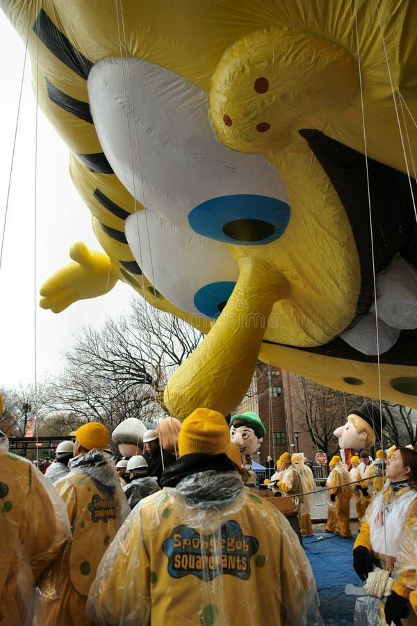 Spongebob na parada do dia da acção de graças fotografia de stock