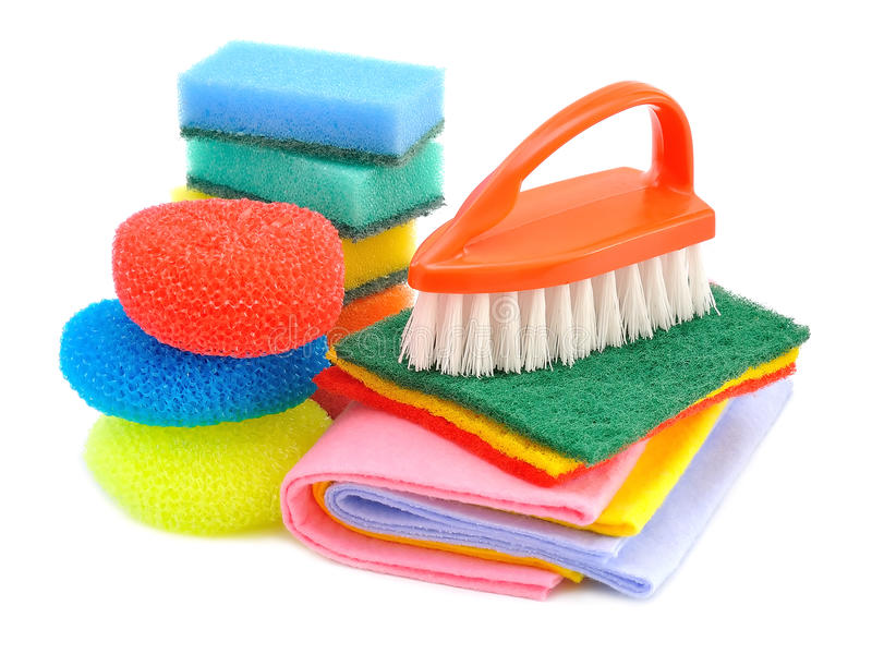 Sponges and brushes for cleaning stock photo