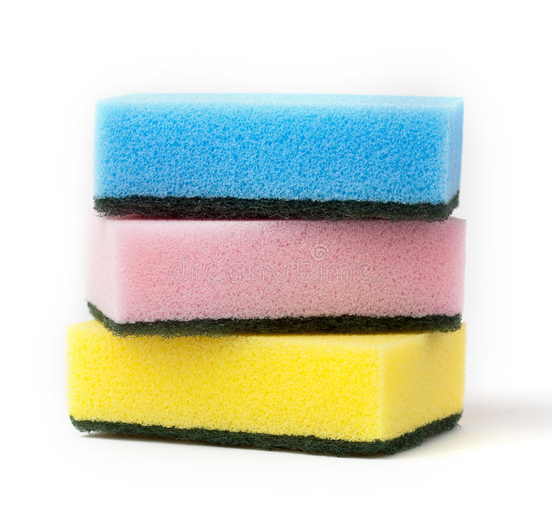 Sponges cleaning kit isolated on white royalty free stock images