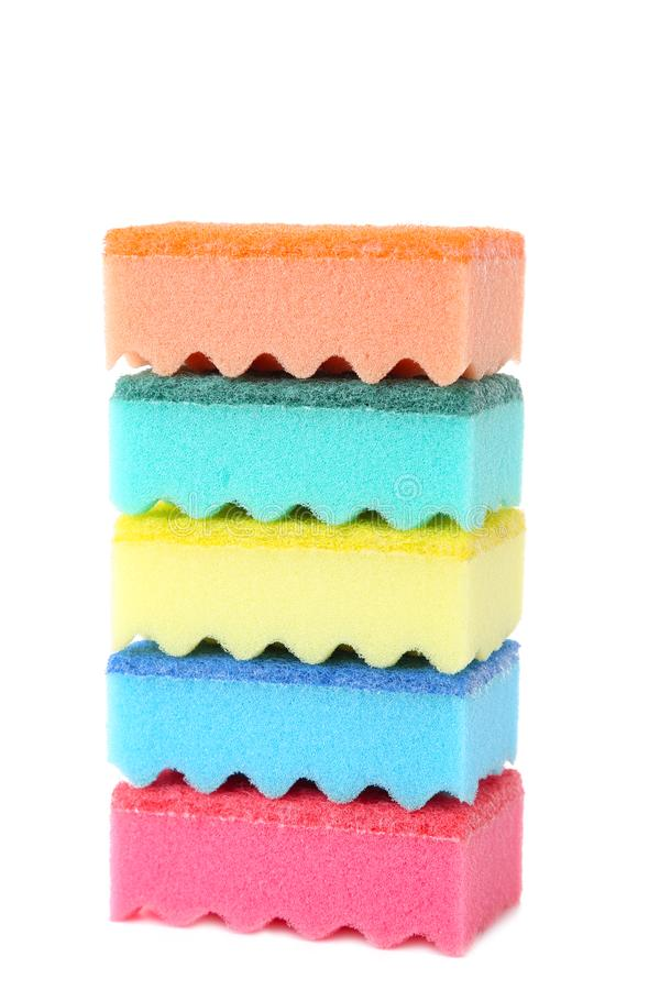 Sponges cleaning kit isolated on white background royalty free stock image
