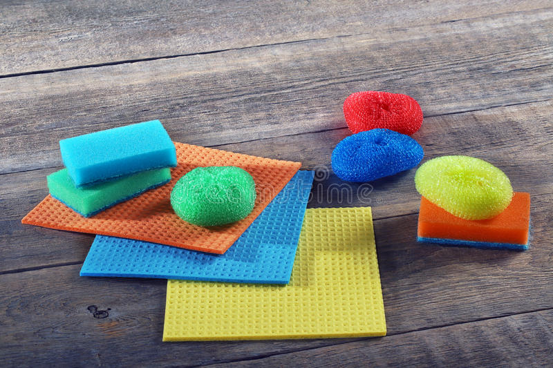 Sponges, rags, brush for cleaning stock photo