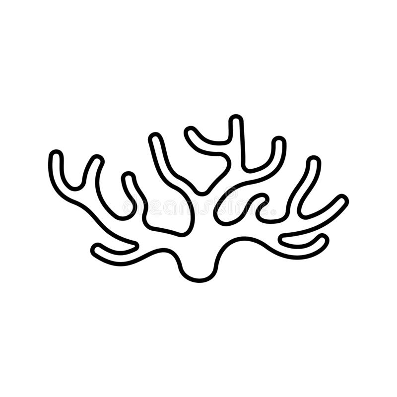 Free Spongilla Icon. Linear Logo Of Seaweed. Black Simple Illustration Of Coral, Water Plant Or Wooden Driftwood. Contour Isolated Stock Photo - 179512660