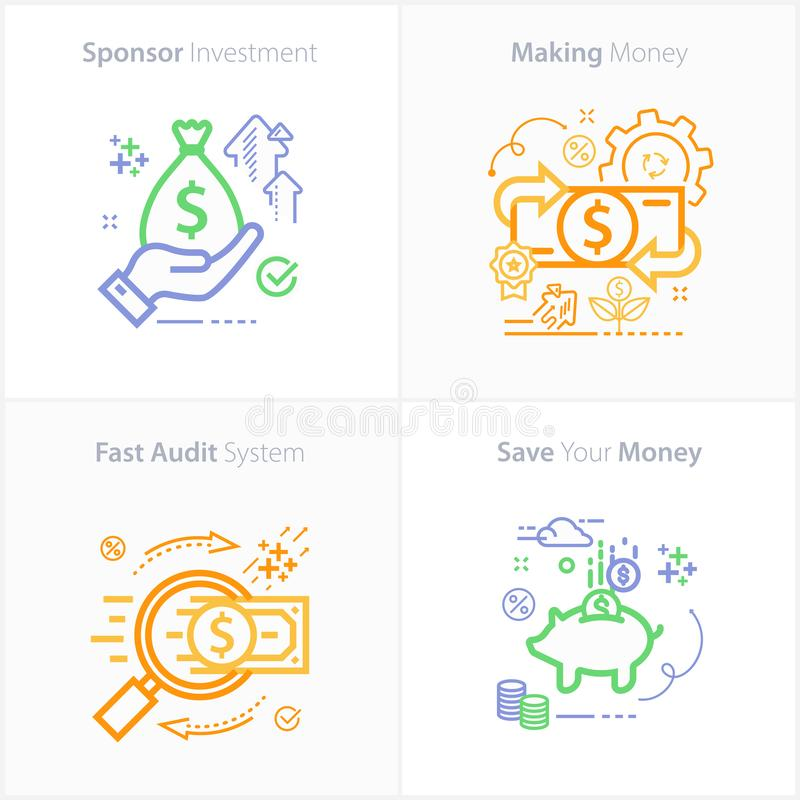 Sponsor investment concept icon / Making money concept icon / Fast audit system concept icon / Save your money concept icon royalty free illustration