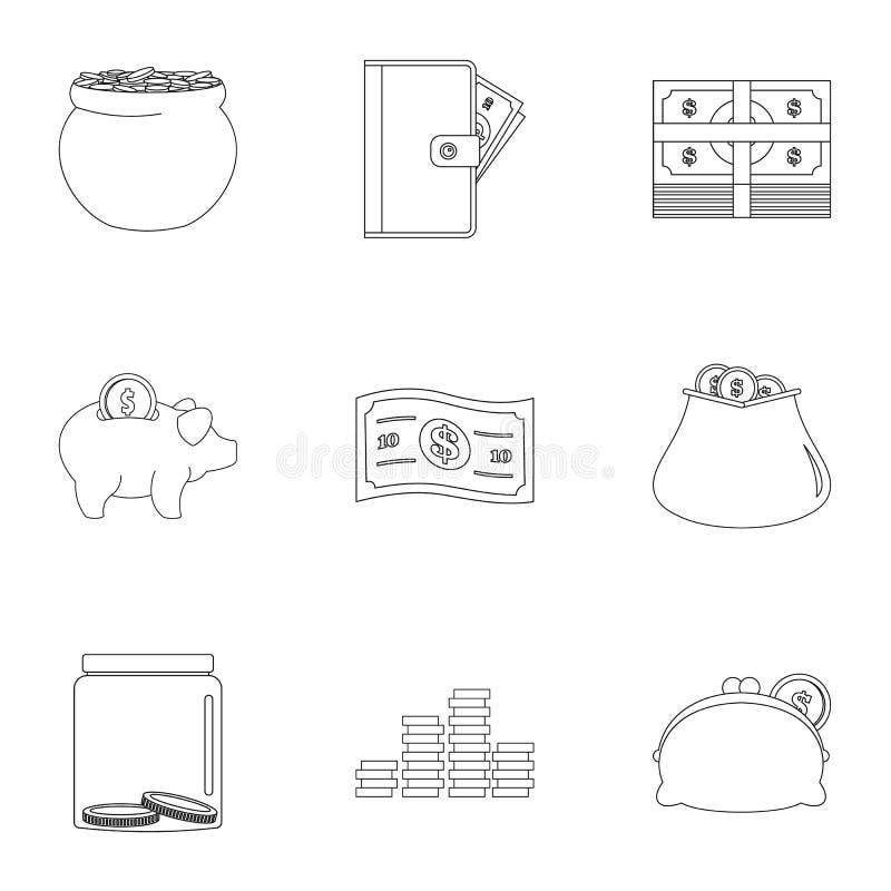 Sponsor pomocy ikony ustawiać, konturu styl ilustracja wektor