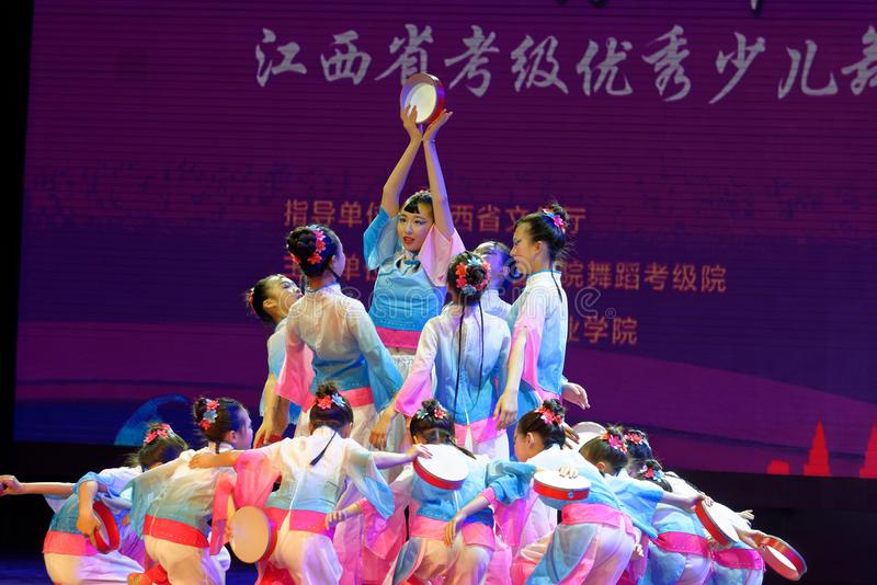 Wish of the moon- Beijing Dance Academy grading test outstanding children`s dance teaching achievement exhibition Jiangxi. Sponsored by the Beijing Dance Academy stock images
