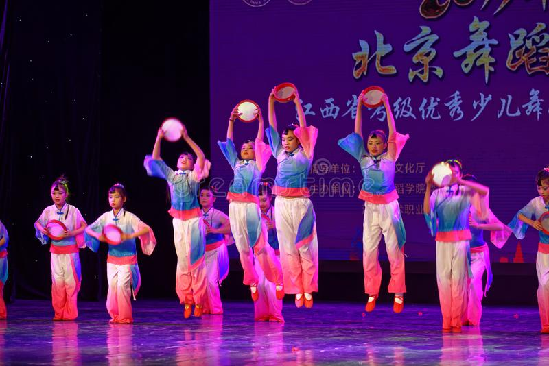 Wish of the moon- Beijing Dance Academy grading test outstanding children`s dance teaching achievement exhibition Jiangxi. Sponsored by the Beijing Dance Academy royalty free stock photography