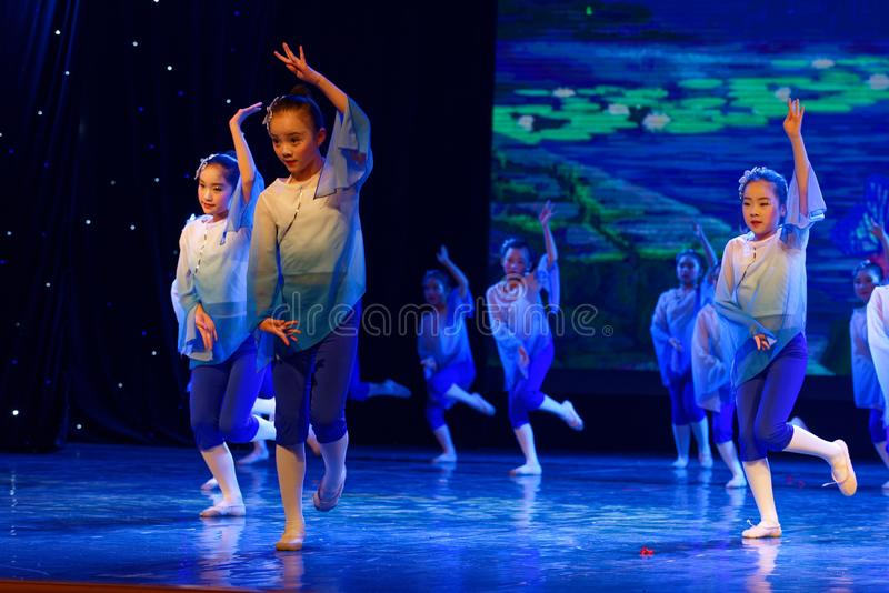 Blue lotus- Beijing Dance Academy grading test outstanding children`s dance teaching achievement exhibition Jiangxi. Sponsored by the Beijing Dance Academy stock photography