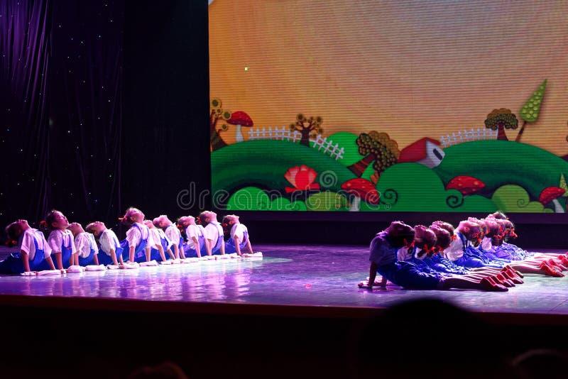 Labor glory- Beijing Dance Academy grading test outstanding children`s dance teaching achievement exhibition Jiangxi. Sponsored by the Beijing Dance Academy stock photos