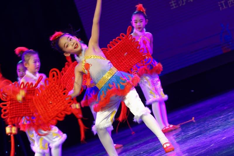 Chinese knot- Beijing Dance Academy grading test outstanding children`s dance teaching achievement exhibition Jiangxi. Sponsored by the Beijing Dance Academy stock image