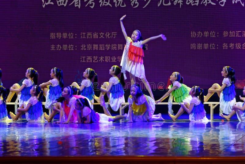 Daydream the starry sky- Beijing Dance Academy grading test outstanding children`s dance teaching achievement exhibition Jiangxi. Sponsored by the Beijing Dance stock photos