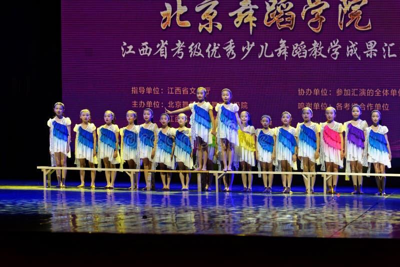 Daydream the starry sky- Beijing Dance Academy grading test outstanding children`s dance teaching achievement exhibition Jiangxi. Sponsored by the Beijing Dance stock photography
