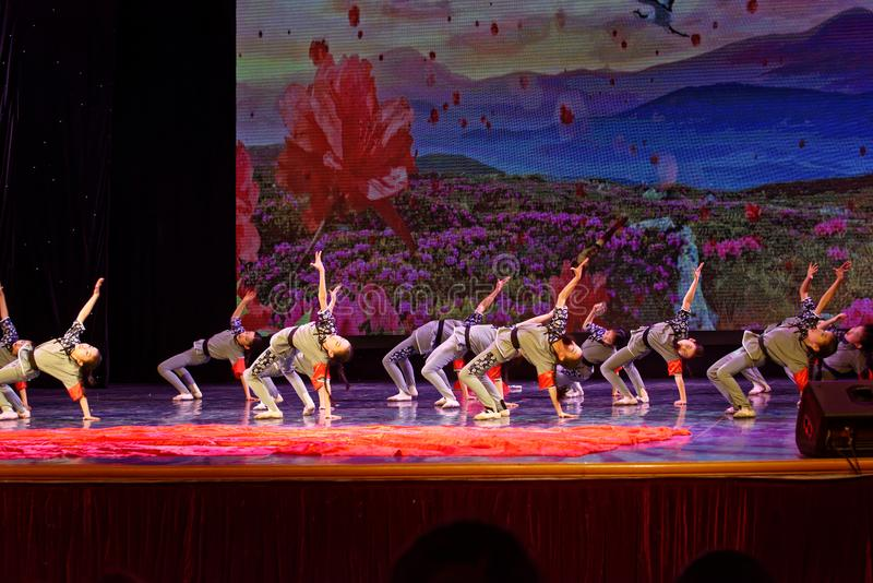 The Children`s Corps- Beijing Dance Academy grading test outstanding children`s dance teaching achievement exhibition Jiangxi. Sponsored by the Beijing Dance royalty free stock photography