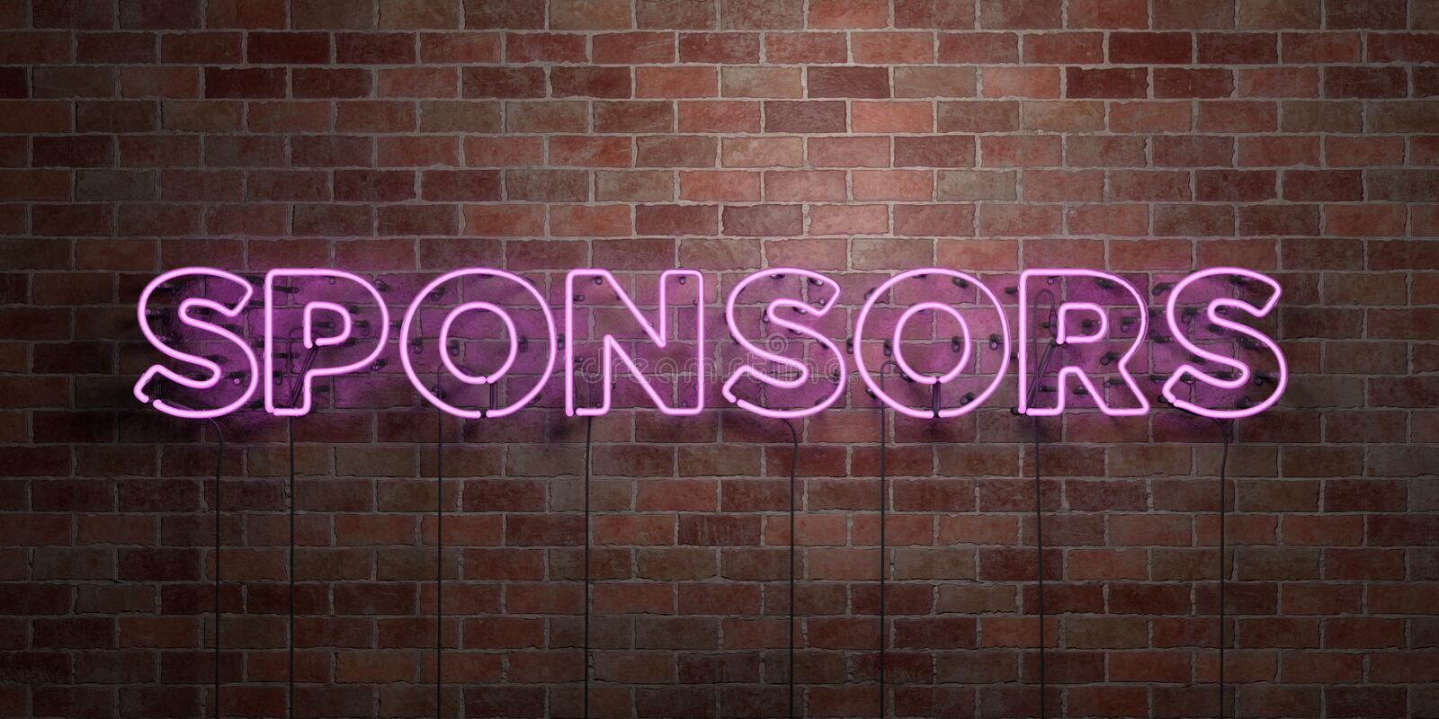 SPONSORS - fluorescent Neon tube Sign on brickwork - Front view - 3D rendered royalty free stock picture. Can be used for online banner ads and direct mailers stock image