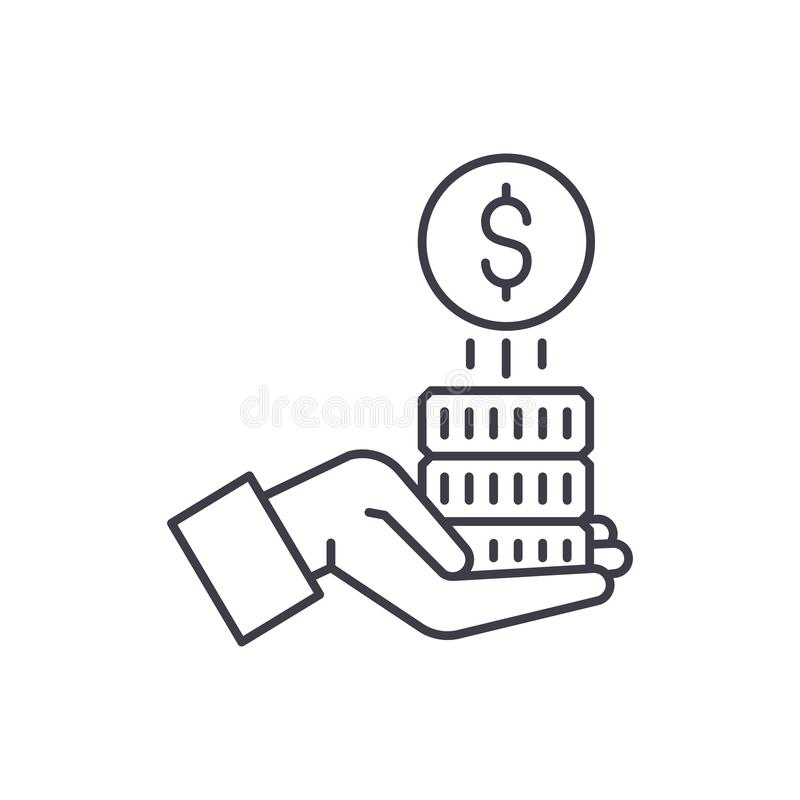 Sponsorship money line icon concept. Sponsorship money vector linear illustration, symbol, sign. Sponsorship money line icon concept. Sponsorship money vector royalty free illustration