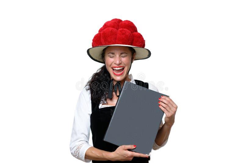 Spontaan portret van lachende Zwarte Bosserveerster stock afbeelding