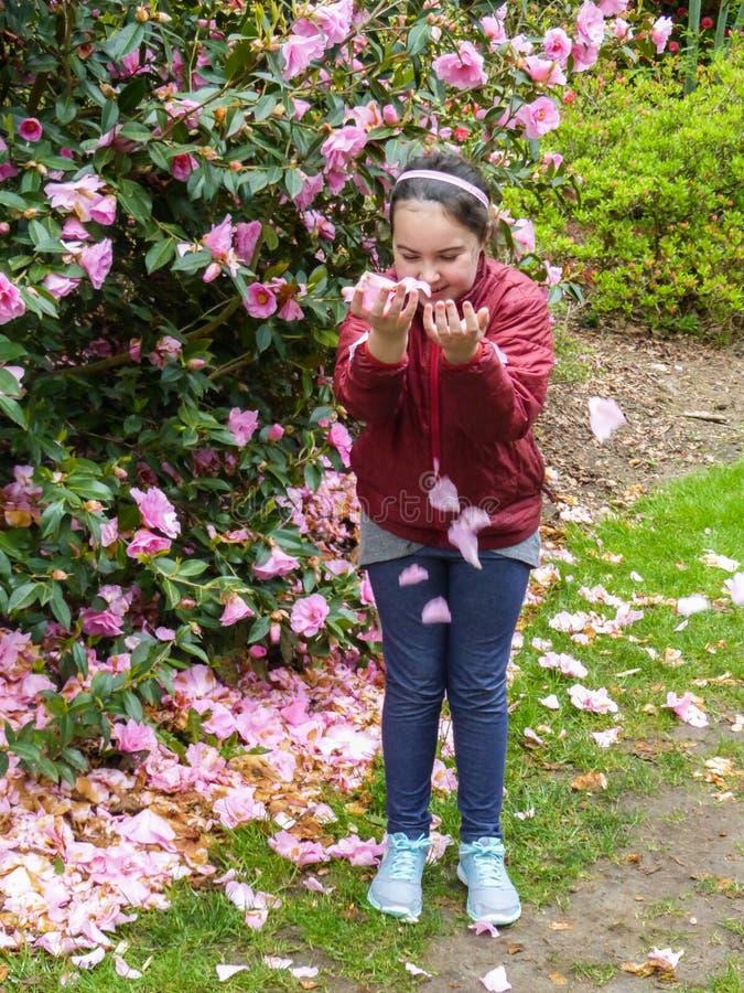 Spontan ung flicka` s, glad lek med ros-rosa färger blommar kronblad arkivfoton