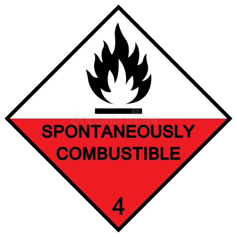 Spontaneously combustible symbol sign Isolate On White Background,Vector Illustration EPS.10. Fire, combustion, flame, flaming, danger, burning, hot, abstract royalty free illustration