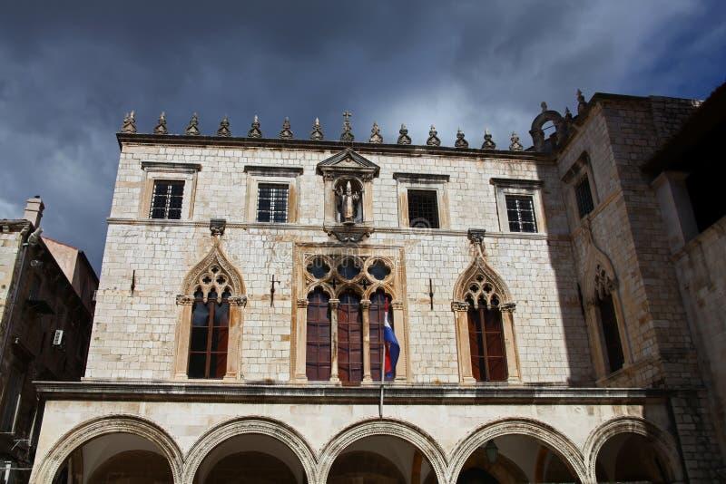 Sponza宫殿。 杜布罗夫尼克,克罗地亚 免版税库存照片