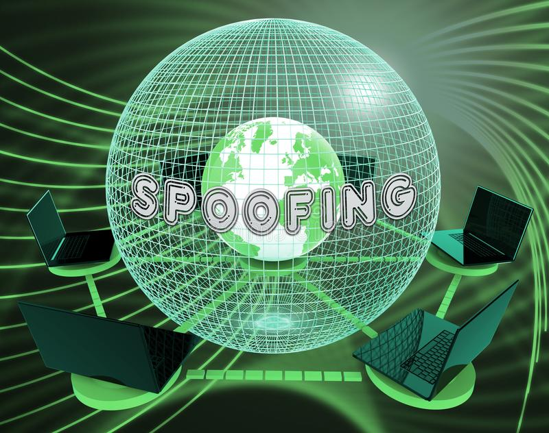 Spoofing Wiedergabe des Angriff Cyber-Verbrechen-Hokuspokus-3d lizenzfreie abbildung