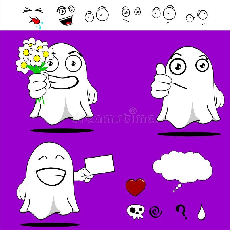 Spook grappig beeldverhaal set6 stock illustratie