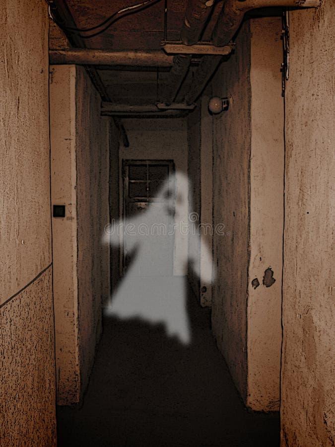 Spook in kelderverdieping stock afbeeldingen