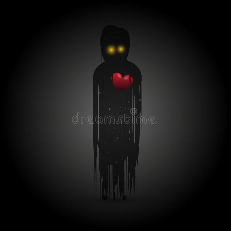 Spook met rood hart in duisternis Vector royalty-vrije illustratie