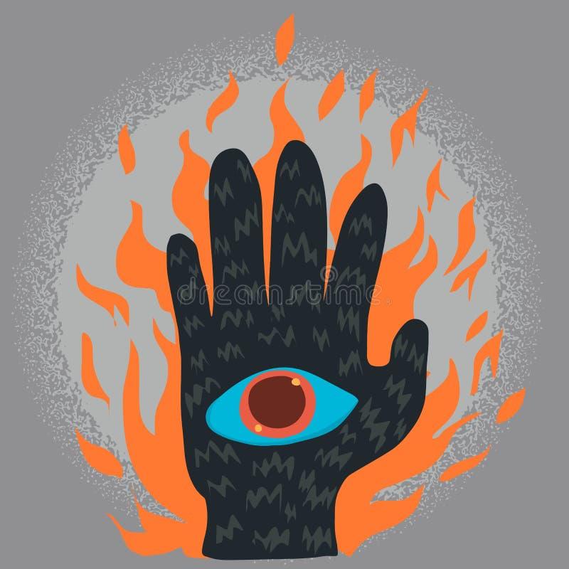 Spookhand met oog stock illustratie