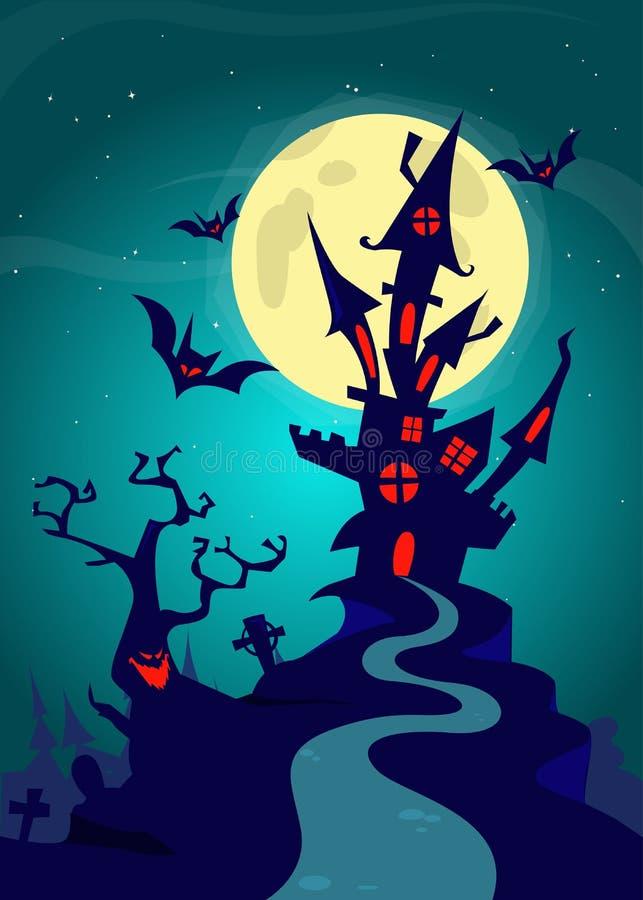 Spookhuis op nachtachtergrond met een erachter volle maan Vectorhalloween-malplaatje als achtergrond stock illustratie