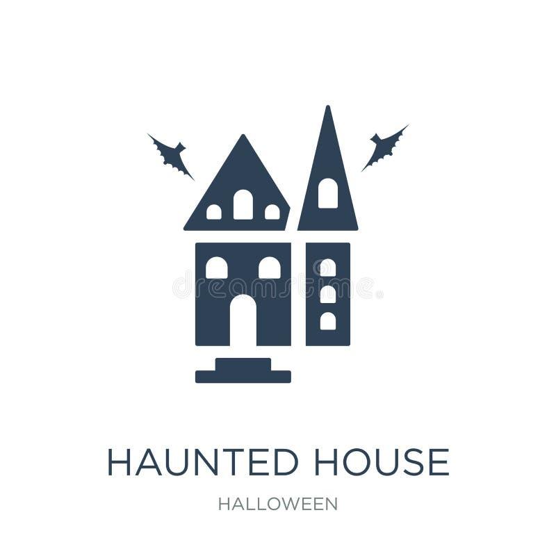 spookhuispictogram in in ontwerpstijl spookhuispictogram op witte achtergrond wordt geïsoleerd die eenvoudig spookhuis vectorpict stock illustratie