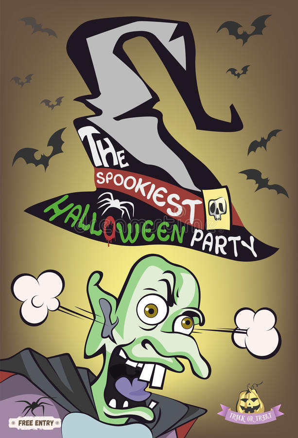 Spookiest плакат партии хеллоуина 2d изверг иллюстрации характера Ужасный волшебник также вектор иллюстрации притяжки corel иллюстрация штока
