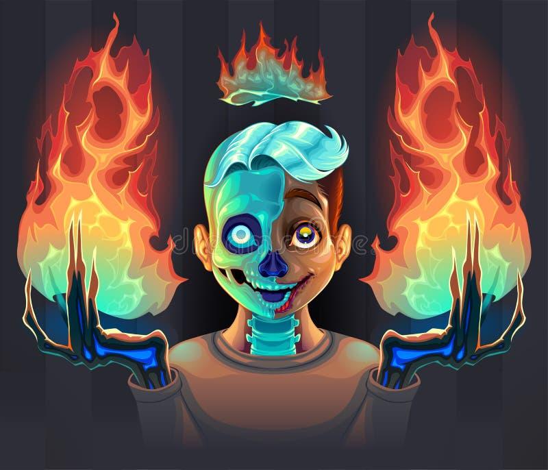 Spookjongen met brand in zijn handen stock foto's