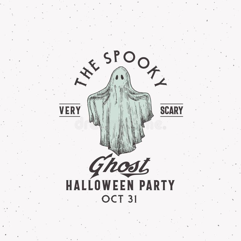 Spookoky Ghost Party Halloween Logo oder Label-Vorlage Handgezeichnetes farbiges Ghost-Sketch-Symbol mit Retro-Typografie lizenzfreie abbildung