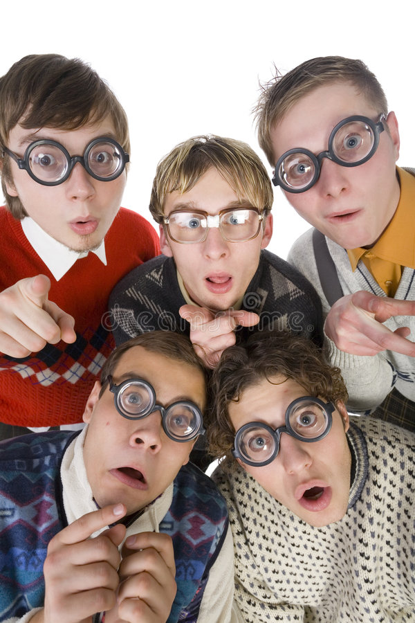 Spooky... Five nerdy guys in funny glasses, looking and pointing at camera. They are looking scared. Front view, white background stock photos