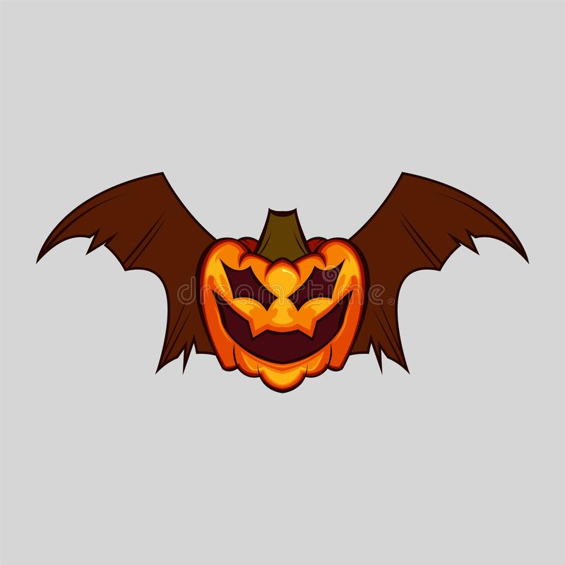 Spooky Bat halloween pumpkin flying isolated. On white stock images