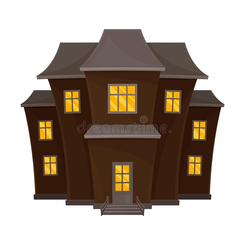 Spooky brown house with a gray roof. Vector illustration. Spooky brown house with a gray roof. Yellow light burn in the windows. Vector illustration on a white stock illustration