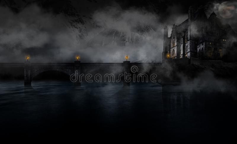 Spooky castle on a foggy night. royalty free stock images