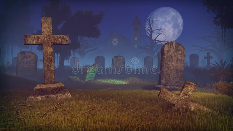 Spooky cemetery with freshly dug grave. Big full moon above old scary graveyard with freshly dug grave at mystic night. Old chapel and creepy dead trees in the royalty free stock image