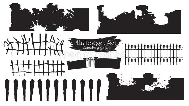Spooky cemetery gate silhouette collection of Halloween vector i. Solated on white background. scary, haunted and creepy fencing element royalty free illustration