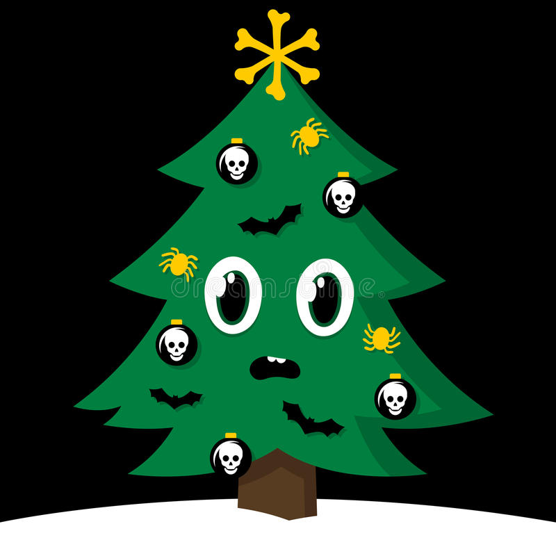 Spooky Christmas tree with Halloween decorations royalty free illustration