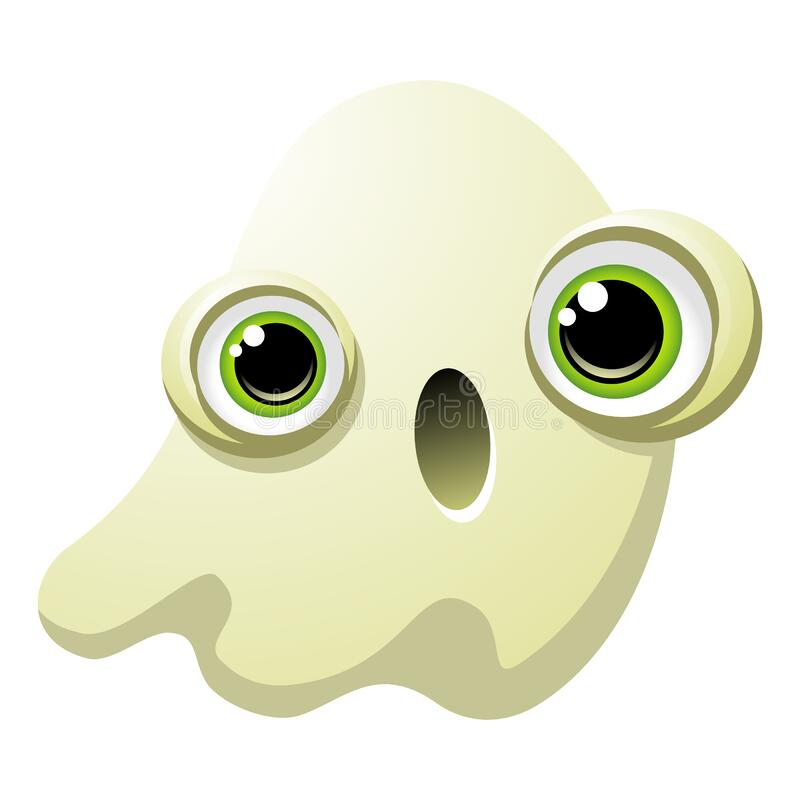 Free Spooky Cute Ghost With Big Green Eyes And An Open Mouth Royalty Free Stock Images - 168855189